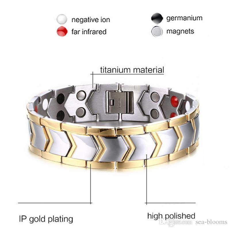 21.3cm Pure Titanium Double Row 4 Elements Pulsera de salud magnética Pulsera de energía para hombres Pulseras de iones negativos Pulseras de los hombres Punk B805S
