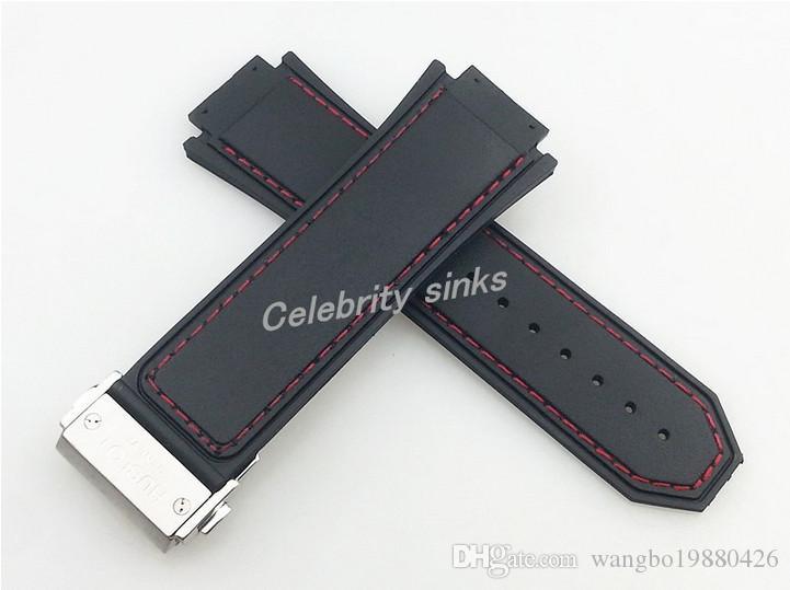실버 버클과 30mm의 새로운 고품질 붉은 색 스티치 블랙 실리콘 고무 밴드 스트랩