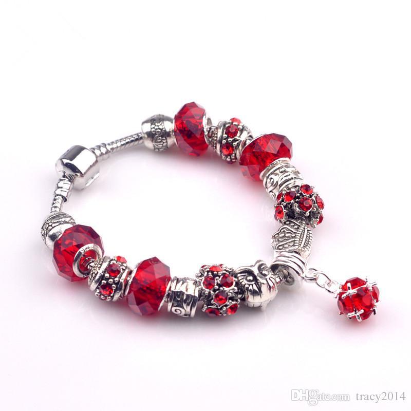 4 cores de prata banhado a pulseira com encantos europeus de cristal de safira DIY acessórios Infinito charme pulseiras mulheres jóias 18 ~ 20 cm