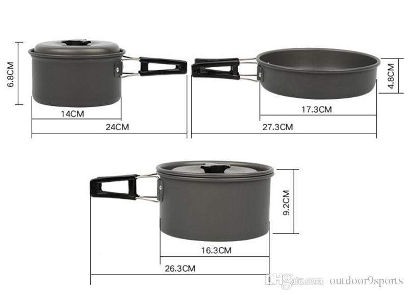 Novo Camping Cozinha 2-3 Pessoas Camping Utensílios de Cozinha Pote Conjunto Portátil Camping Pot Set Utensílios de Cozinha Ao Ar Livre Duro Liga De Alumínio Pan Set