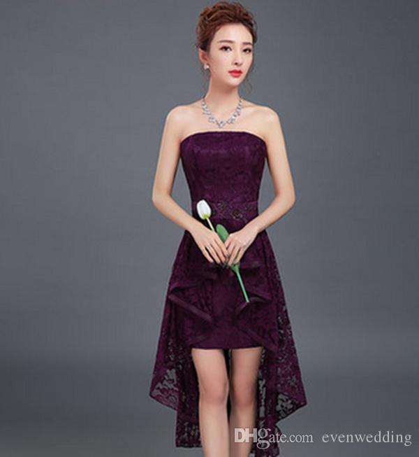 Romântico Lace Alta Low Bridesmaid Dress Lace Up Roxo 2017 Elegante Vestido de Festa Curta Frente Longo Voltar
