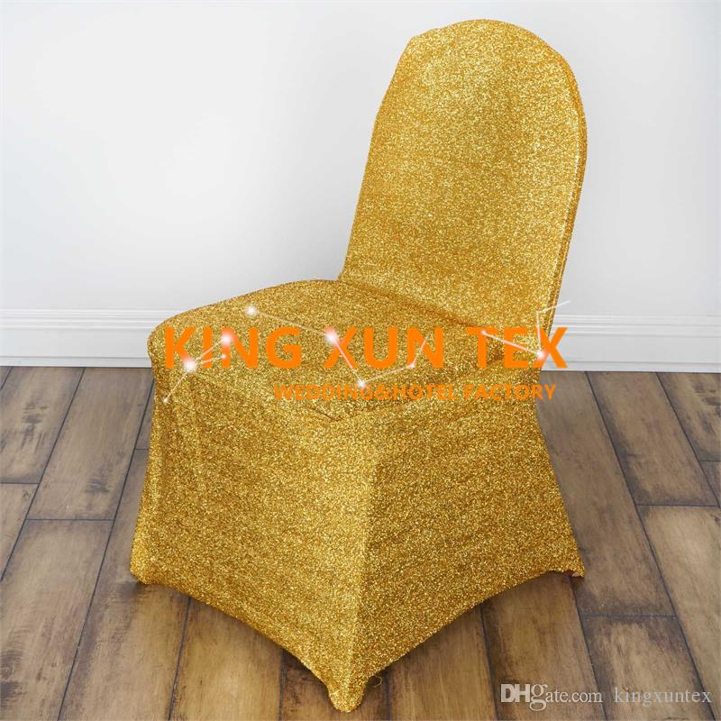 Nuovo Design Shiny Light Stretch Cheap Wedding Chair Cover \ Banchetto Chair Cover color oro e argento