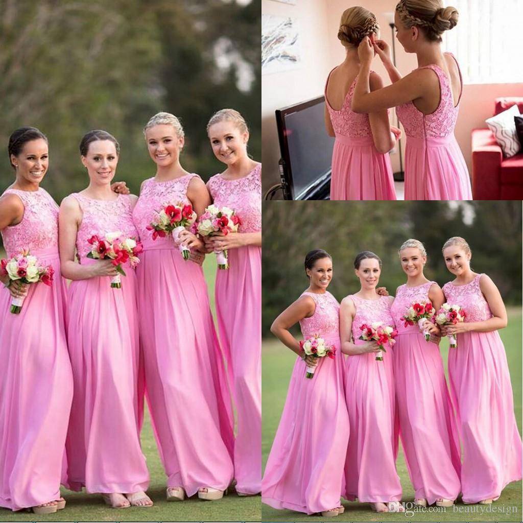 2017 Garden One Shoulder Long Bridesmaid Dresses Hot Pink Wedding ...