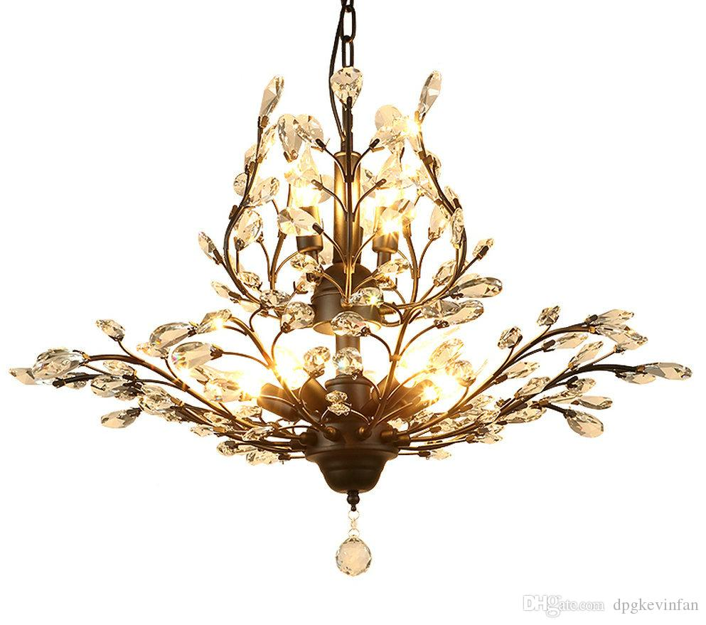 Lustre k9 crystal luxury modern wrought iron chandelier lighting lustre k9 crystal luxury modern wrought iron chandelier lighting chandeliers for dining room living room loft home lighting e14 led lamp brass chandelier aloadofball Image collections