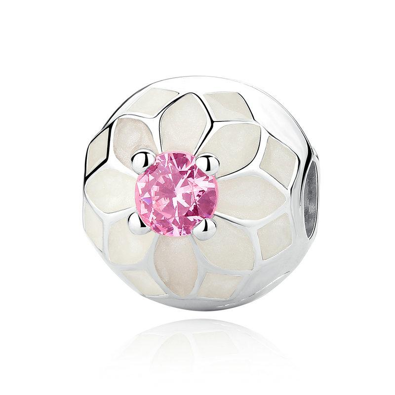 Blooming Dahlia Flower Clip Charms in 925 Sterling Silver with Cream Enamel & Blush Pink Crystals for Pandora Style Beaded Bracelets S291
