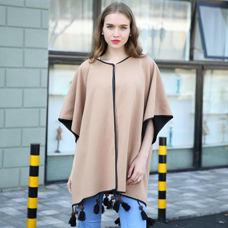 New Streets Big PU Serging Poncho Jacket The Latest Popular Wood Bead Cape & Poncho Office Cape