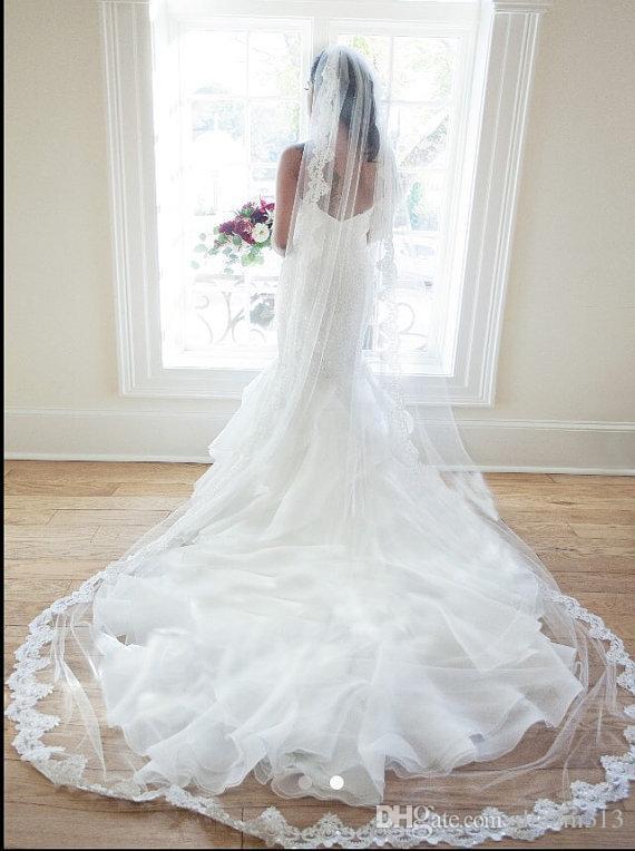 Новое Высочайшее качество Лучшие продажи Один слойный собор Короткие белые слоновые кружевные аппликации вуаль свадебные кусочки для свадебных платьев