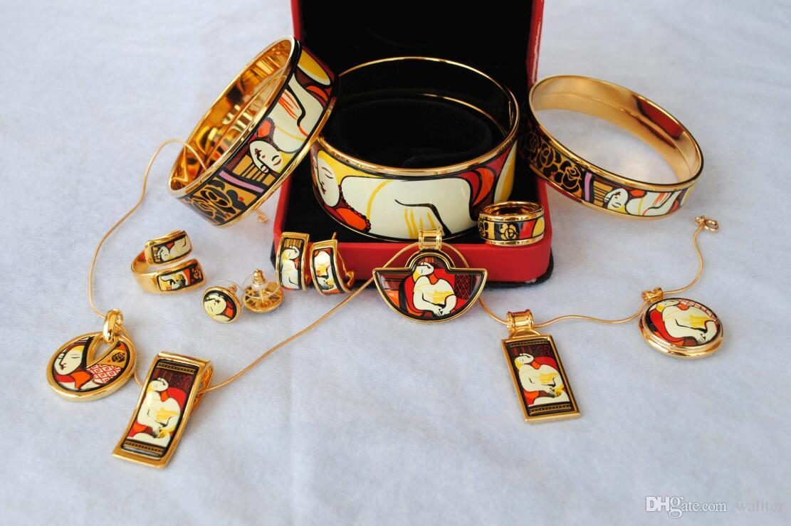 Bracciale smalto placcato oro 18 carati serie Dreams and Roses donna Top buoni braccialetti braccialetti larghezza 15mm Gioielli stilisti