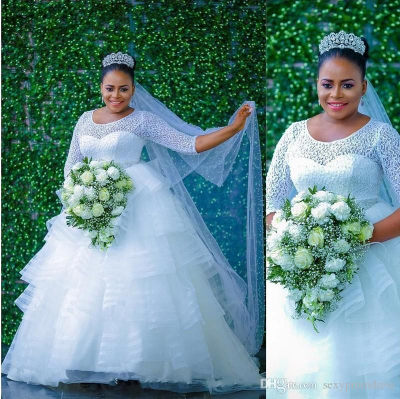 Nigeria Style Tiered Wedding Dresses 2017 Summer Lace Top Long Sleeves Plus Size Bridal Gowns Tulle Ball Gown African