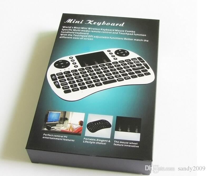 HOT Perfect Portable Specific Wireless i8 keyboard Touchpad للكمبيوتر الشخصي Android TV X-BOX COLOR: أسود / أبيض