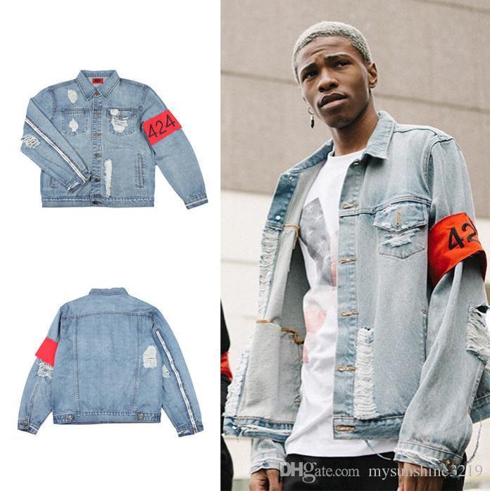 Acquista Autunno Kanye West Abbigliamento Streetwear Mens Autunno Inverno  Denim Blu Uomini Giacca Strappato Qualità Hip Hop Refurt Justin Bieber Mens  ... f148261ddbc