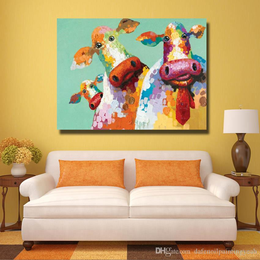 Cartoon Design By Hand painted Cow Paintings on Canvas Animal Oil Painting Nice Decorative Pictures Bedroom Wall Decor No framed