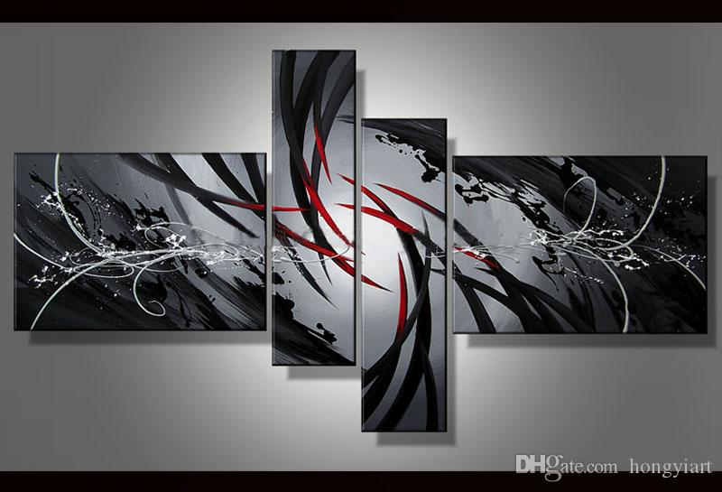 2019 100 Hand Painted Large Black White And Red Abstract Oil