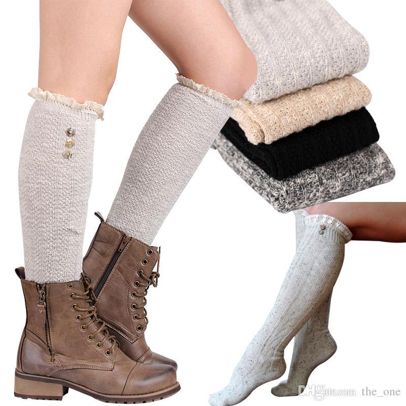girls fashion lace knee high socks women girl knitting wool leggings leg warmer with button available
