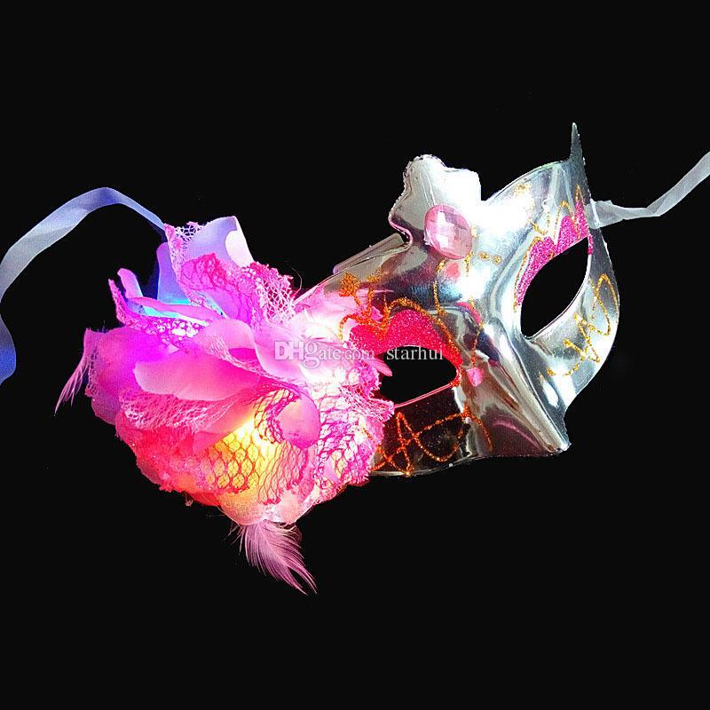LED Halloween Party Maski Flash świecące Kwiaty Maska Mardi Gras Masquerade Cosplay Weneckie Maski Halloween Kostiumy Party Prezent WX9-66