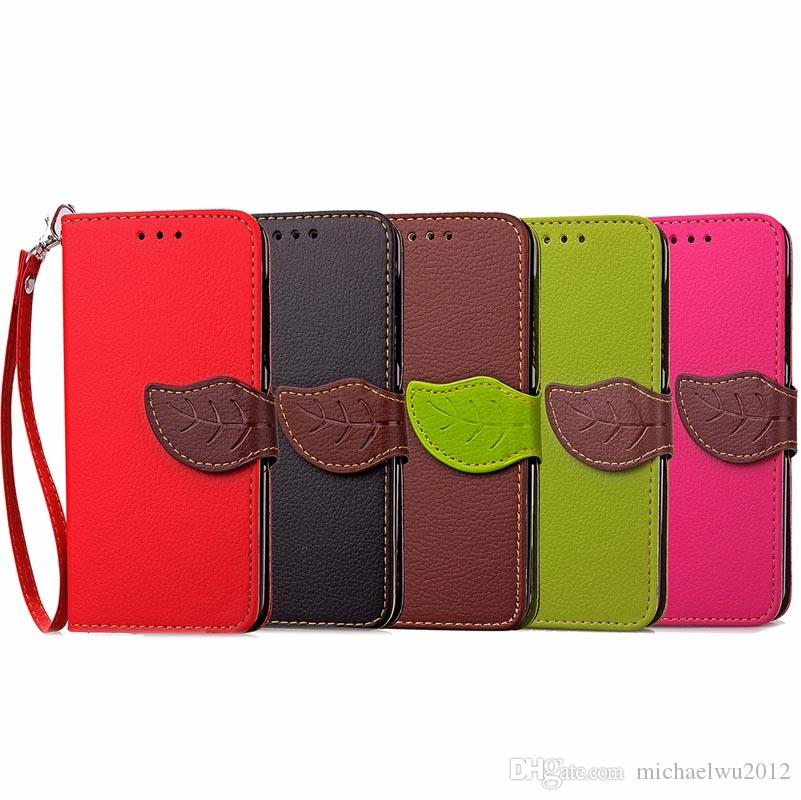 "PU Leather Wallet leaf Style Flip Book Cellphone Cover Case with Credit Card Holder for iPhone 7 Plus 5.5""inch"