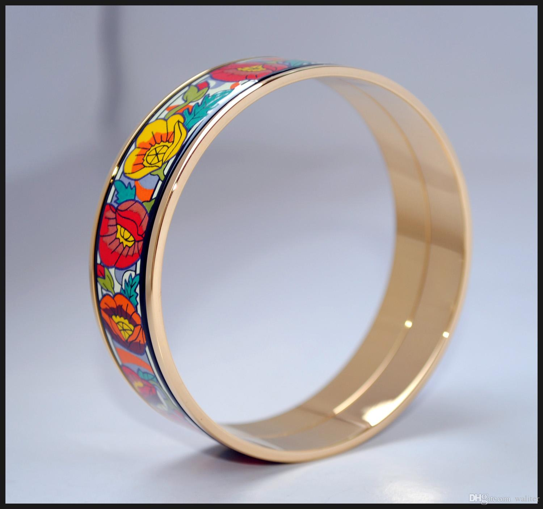 Monet Poppy Series 18k Pulsera de esmalte de esmalte chapado en oro para mujer Pulseras de alta calidad Brazaletes Ancho 20mm Joyería de moda