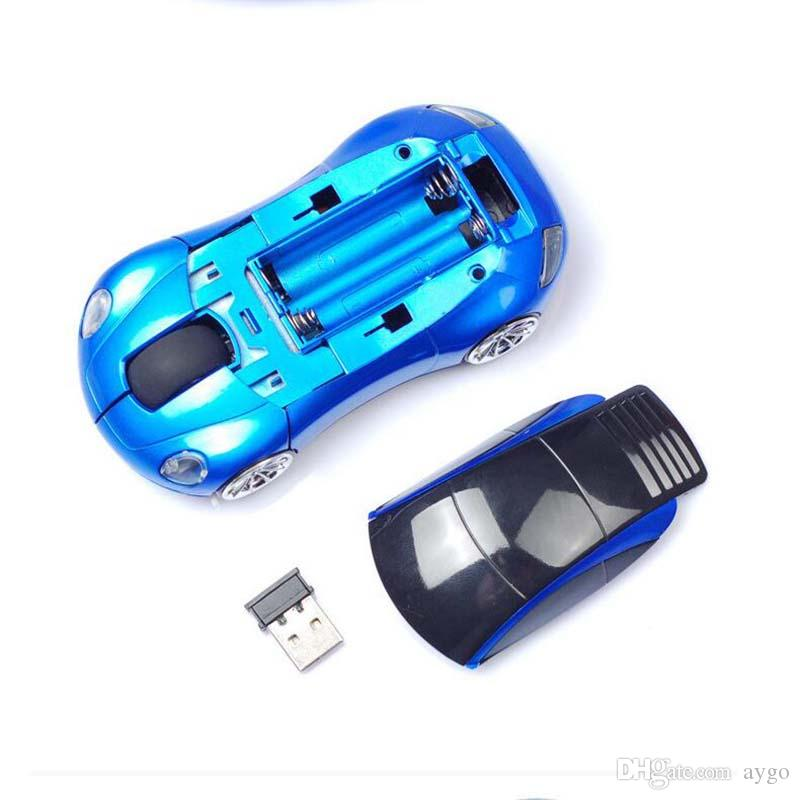 Moda 2.4 GHz 3D Mouse Óptico Sem Fio Ratos Forma de Carro Receptor USB Mini Ratos Para PC Portátil