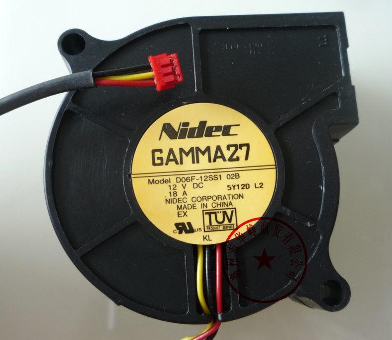 새로운 원본 NIDEC D06F-12SS1 02B 6025 12V 0.18A 3WIRE 냉각 팬
