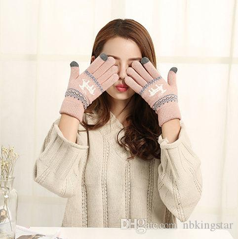 Winter Warm Touch Screen Five Fingers Gloves Cute Deer Christmas Gifts Knitted Glove For Women