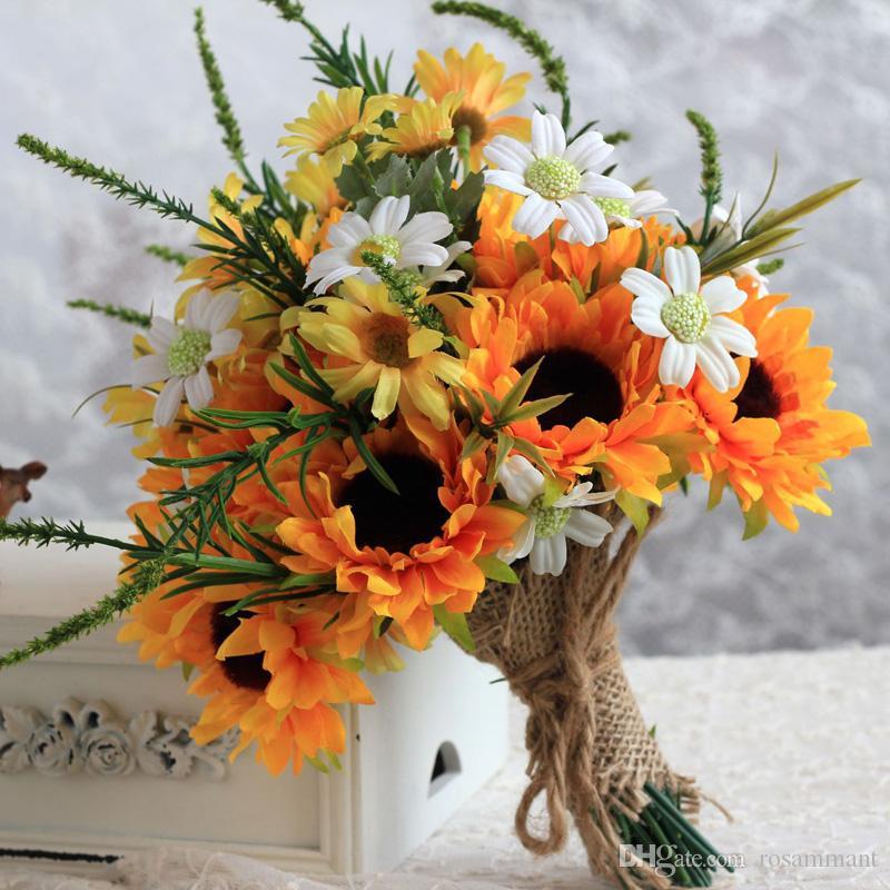 2019 Fleurs De Soie Artificielles De Mariage Bouquets De Mariage Pour Les Mariées À L'extérieur De Bouquets De Mariage Hybrides Bouquet De Mariage