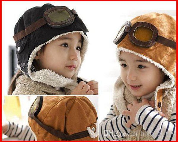 wholose hot sale High quality Fashion cool Style New Cute Baby Toddler Boy Girl Kids Pilot Aviator Cap Warm Hats Earflap Beanie