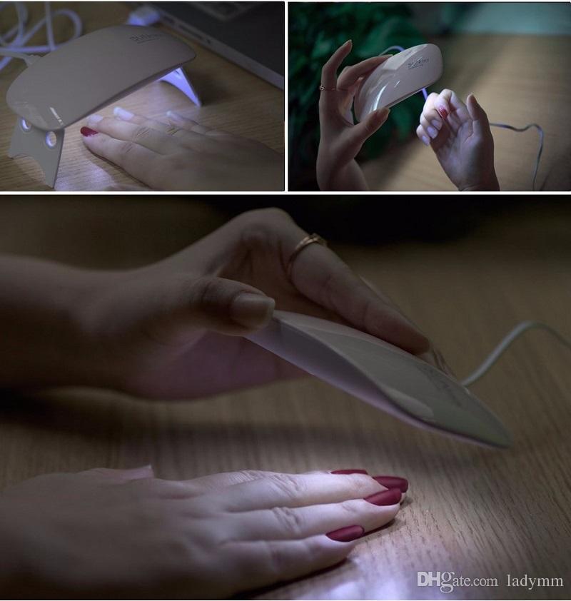 Nuevo Mini USB 6W 6 LED UV Secador de uñas Máquina de lámpara de curado Esmalte de uñas Potente lámpara UV Esmalte de uñas Uñas de luz Herramientas faciales Secado rápido es