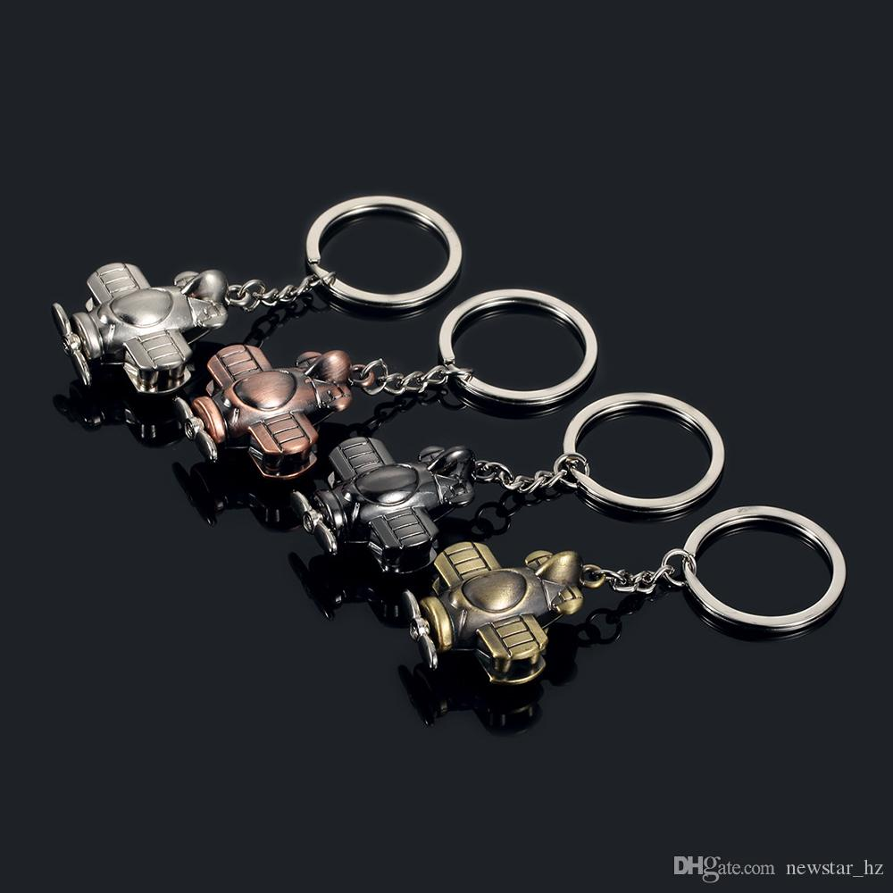 Metal Keychains Propeller Aircraft Model Keyring Zinc Alloy Key Chain Keyfob Car Keychain Creative Gift Airplane Pendant Bag Decoration