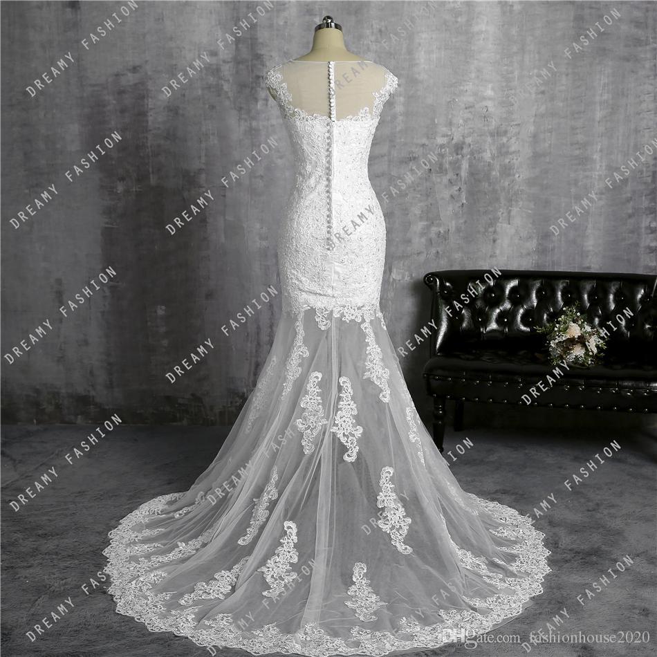 Champagne Short Lace Detachable Wedding Dresses 2017 Sheer Illusion Back Sexy Mermaid Beach Wedding Dress Trumpet Bridal Gowns