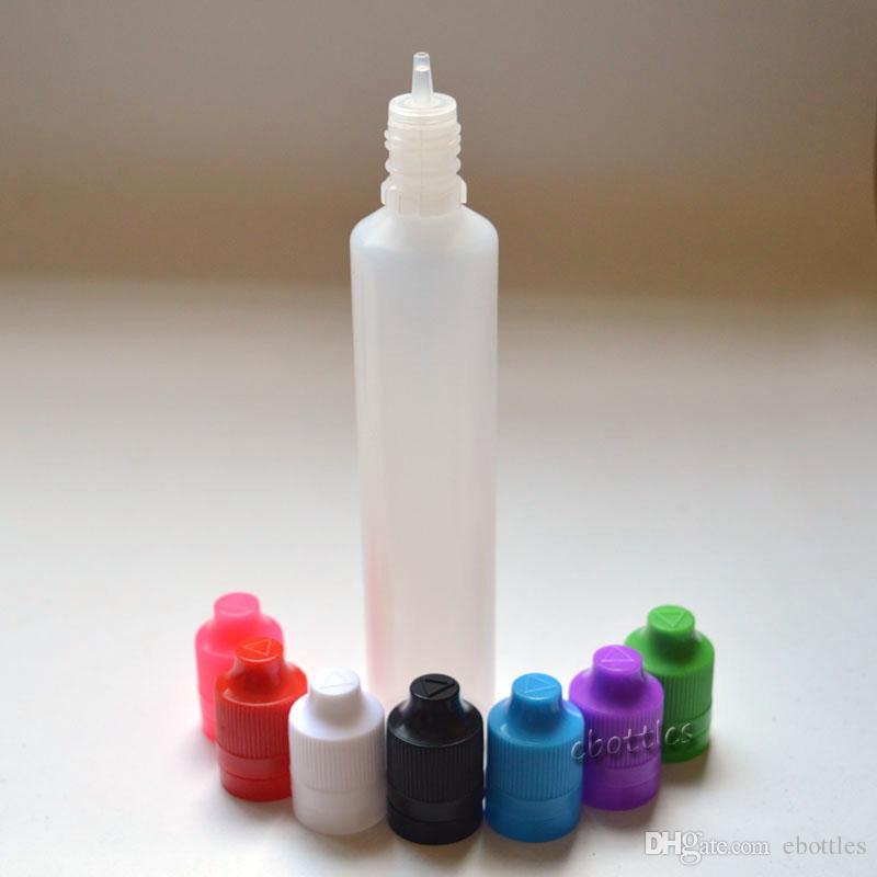 PE botella vacía de plástico de 60 ml largo gotero evidencia de alteración de la forma Pen Cap prueba de niños E líquido de la botella Envío gratuito