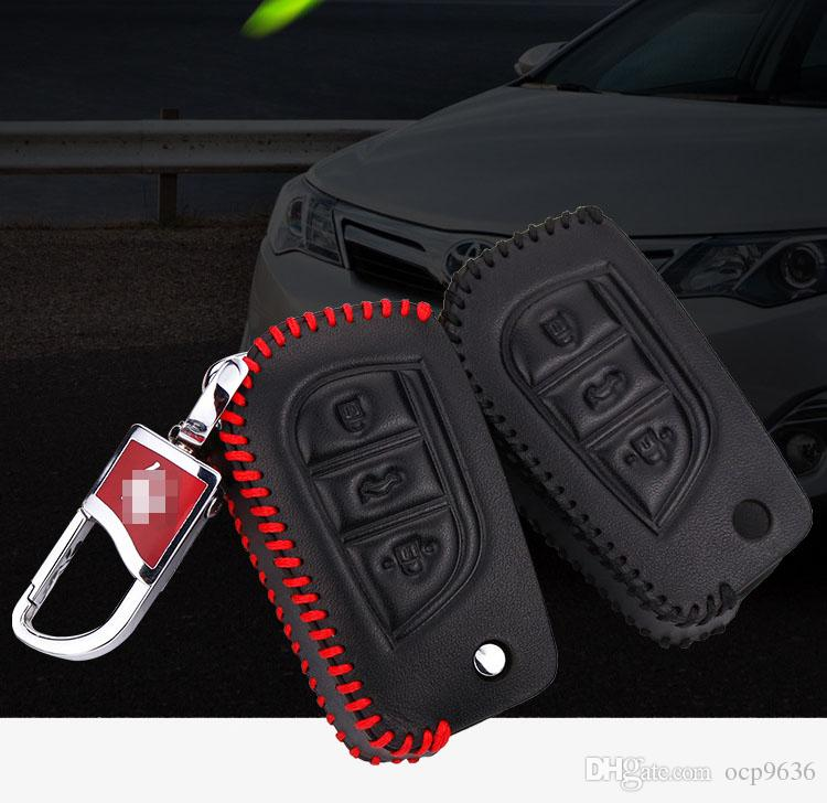 Premium Leather Remote Key Holder Fob Case Cover For Toyota Camry 2015-2016