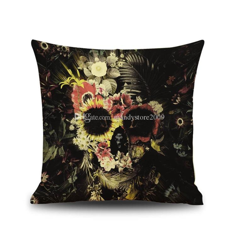 해골 베개 케이스 할로윈 Pillowcases 장미 꽃 해골 쿠션 케이스 홈 인테리어 베개 커버 파티 Pillowcases 만화 쿠션 커버