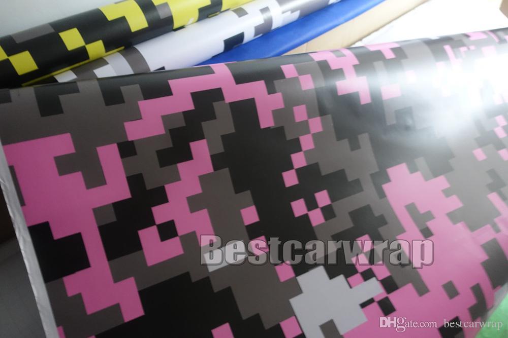 feuille blanche rose numérique imprimé Camo vinyle Wrap voiture avec bulle d'air libre Pixel Camouflage graphique autocollant de voiture Taille du film: 1.52x10m / 20 m / 30 m