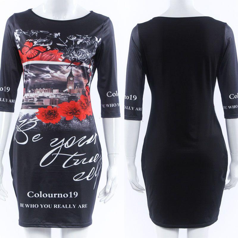 Summer Style 3XL Plus Size Women Clothing 2016 Sexy Casual Cartoon Print Vestidos Party Slim Bodycon Mini Women's Dresses