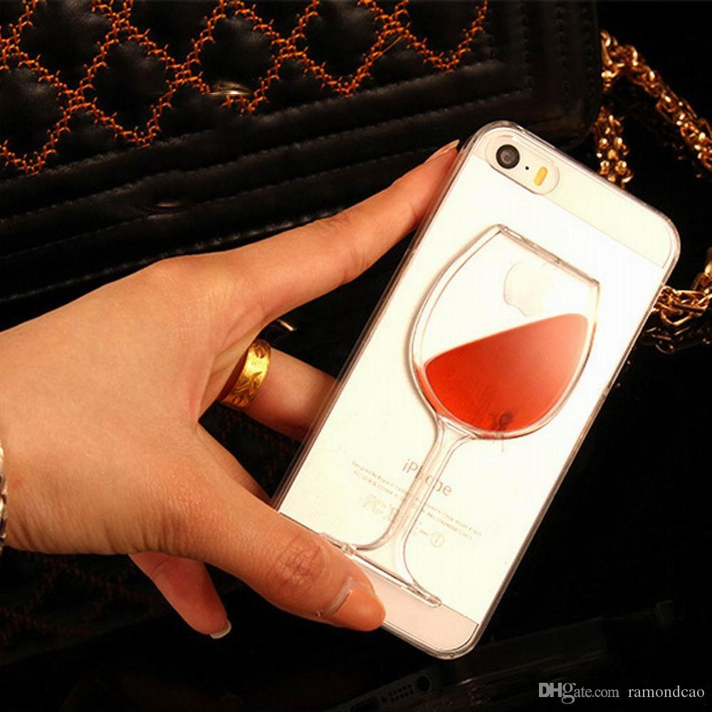 Venta caliente Liquid Quicksand Red Wine Cóctel de cerveza Transparente transparente Caja del teléfono cubierta trasera dura para iPhone 4S / 5C / 5S / 6 / 6S / 6Plus