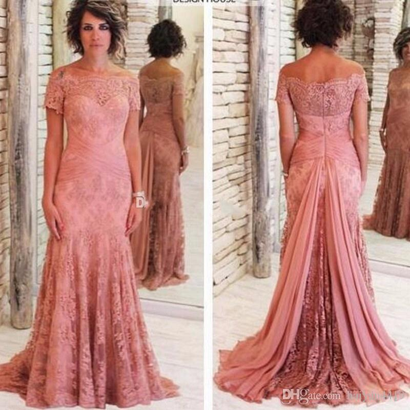 2017 Fashion Pink Formal Mother Of The Bride Dresses Short Sleeve Mermaid Lace Mother Gown Tulle Embroidered Plus Size Wedding Guest Gowns