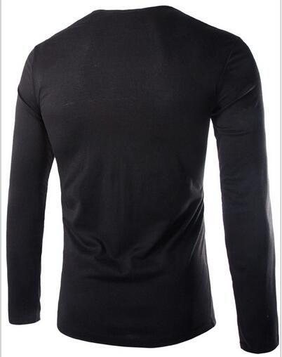 뜨거운 뜨거운 스타일 - 긴팔 티셔츠 더미 디자인 패션 슬림 맞는 남자 긴 소매 티셔츠 bottoming tshirt