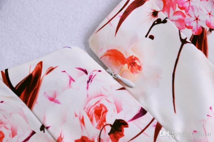 Цветочный цветок печати женщин-Line платье без рукавов повседневные платья 074A671