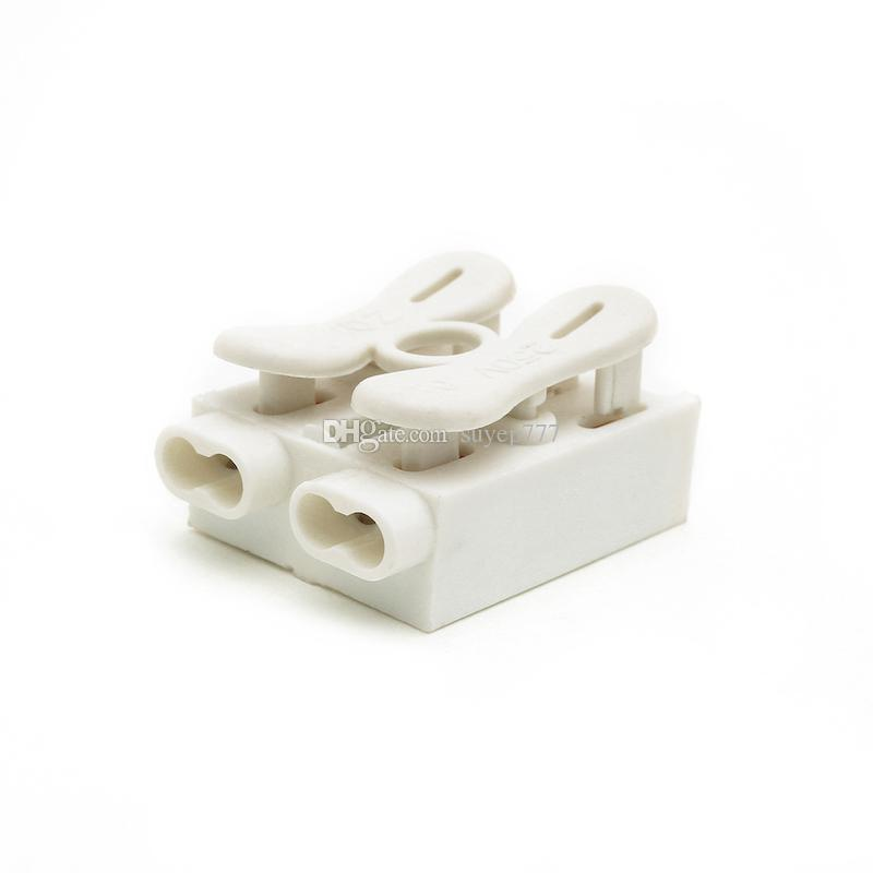 Self Locking Spring Wire Connectors Electrical Cable Clamp Terminal Block ZQ-2P white Quick Splice Lock Wire Terminal Connectors