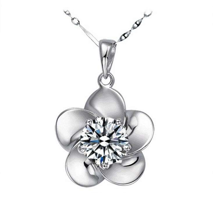 New Fine Rose Flower Pendants Austrian Crystal Necklace 925 Sterling Silver Plating Crystal Elements Diamond Chain Necklace Free