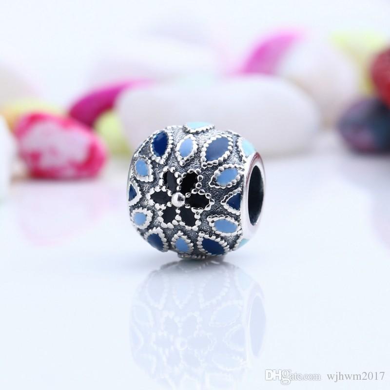 New Blue Smalto Cattedrale Rosa Charms Floreale di Alta Qualità Reale 925-Sterling-Sliver Fiore Fai Da Te Monili Europei Fare HB249