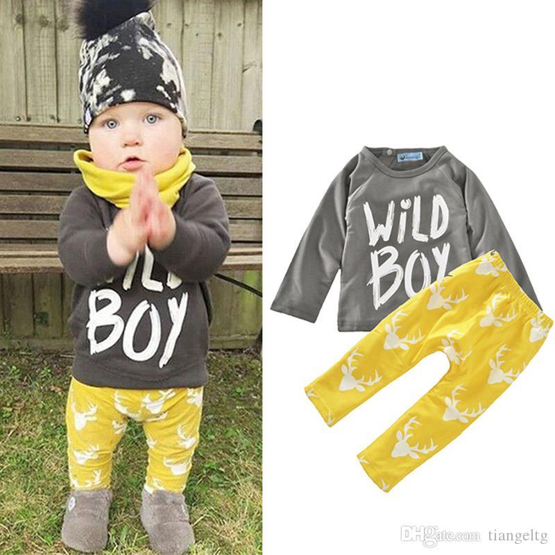 56f03e327 2019 Boys Girls Clothing Sets Wild Boy Letters Print Winter Autumn ...