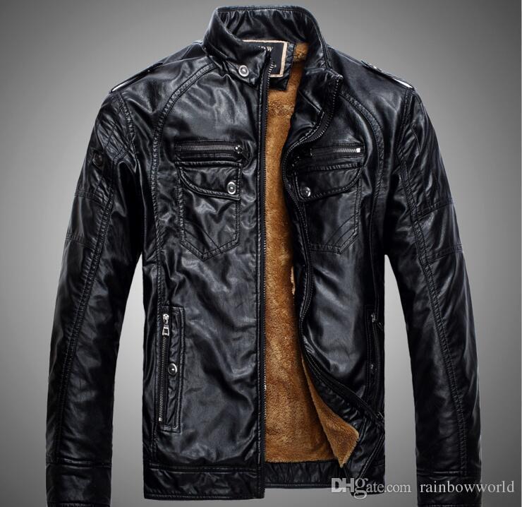 Von Rainbowworld Männer Stehkragen Leder Männlichen Lederjacke Jacken Casual Slim Vintage Mantel Herbst Großhandel Moto Pu Braun Motorrad Herren Fit qSMzpUV