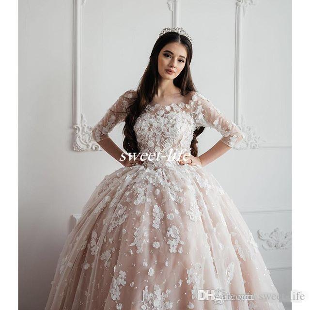 빈티지 2020 웨딩 드레스 어깨 3D 꽃 아플리케 신부 공 가운 해변 플러스 사이즈 신부 드레스