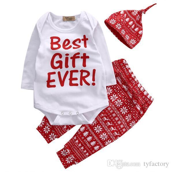 Newborn Infant Baby Boy Girl Christmas Cotton Romper Deer Pants Hat