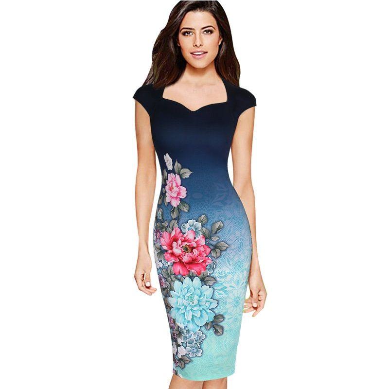 4f894466d4 Compre Para Mujer Elegante Estampado Floral Vintage Con Capucha Manga  Casquillo Ocasional Fiesta De Noche Vestidos Vestido De Tubo Lápiz DK9012CL  A  15.05 ...