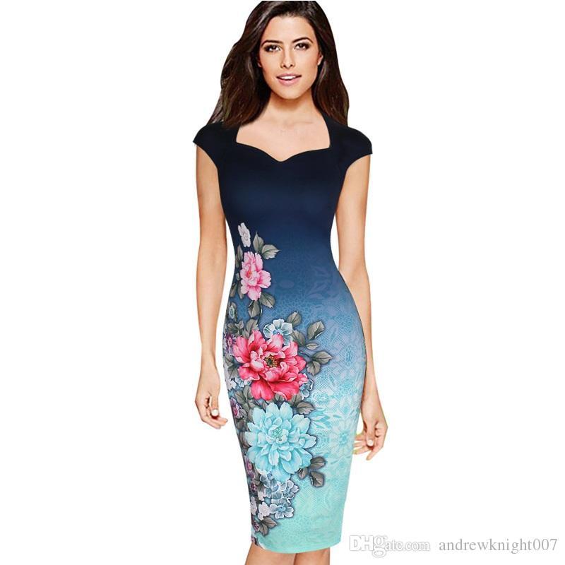 Acheter Womens Élégant Vintage Floral Imprimer Charme Pinup Cap Manches  Décontracté Soirée Robes Vestidos Robe Fourreau DK9012CL De  15.05 Du ... 2f0e08a40900