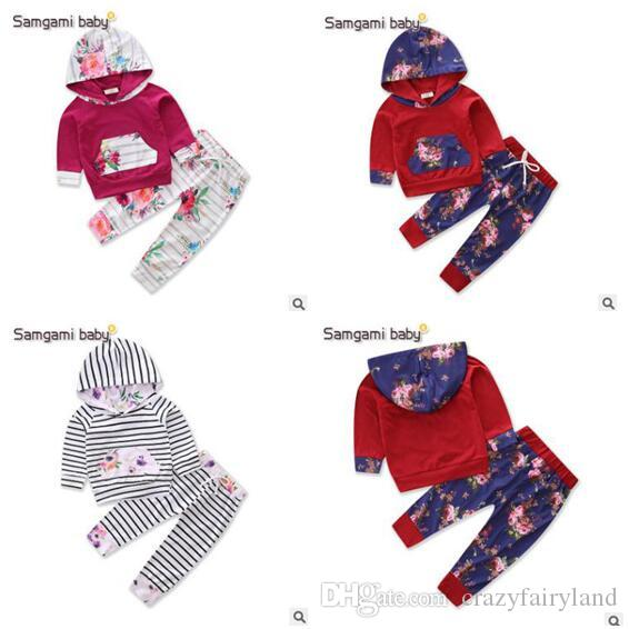 6f18bf2eb 2019 Spring Fall Baby Clothing Set Toddler Infant Striped Floral ...