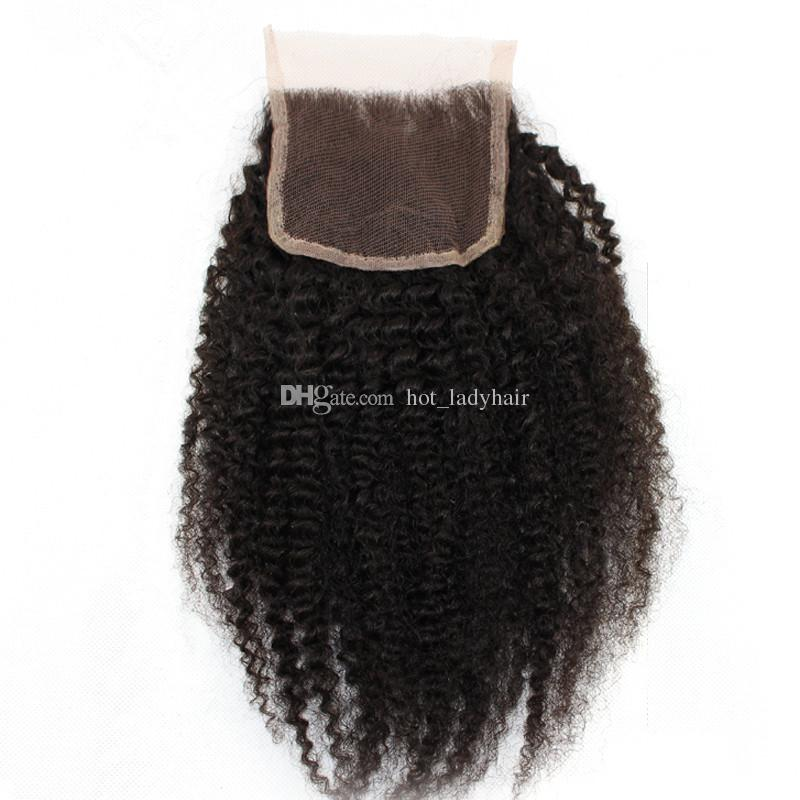 7A Human Hair Weave Brazilian Afro Kinky Curly With Closure Free Middle Three Part Lace Closure With Bundles