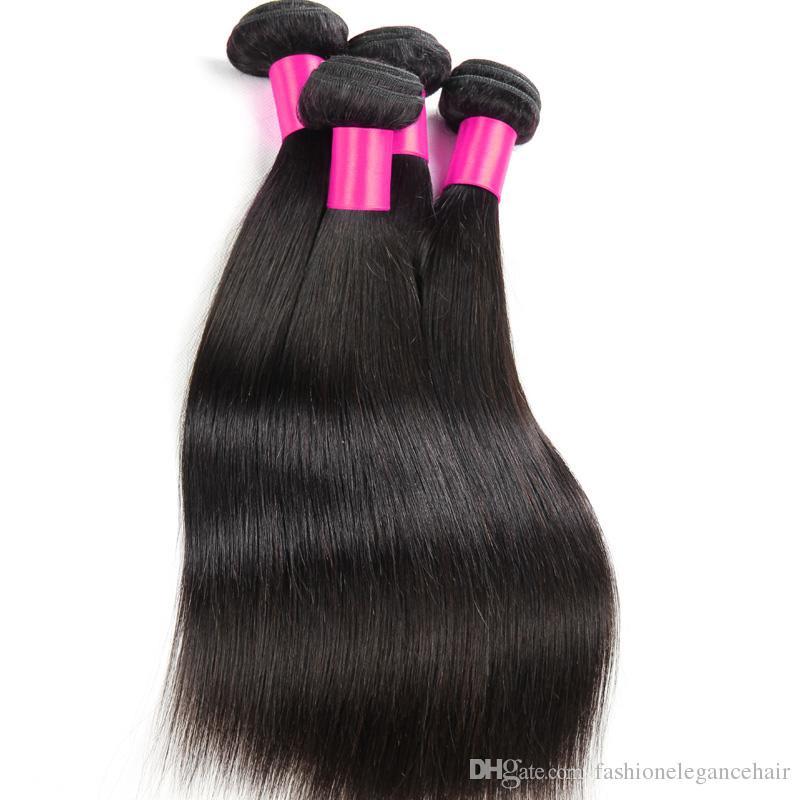 7A Peruvian Human hair Weave Unprocessed Virgin Hair Extension 4 bundles same mix length straight Hair Weft DHL